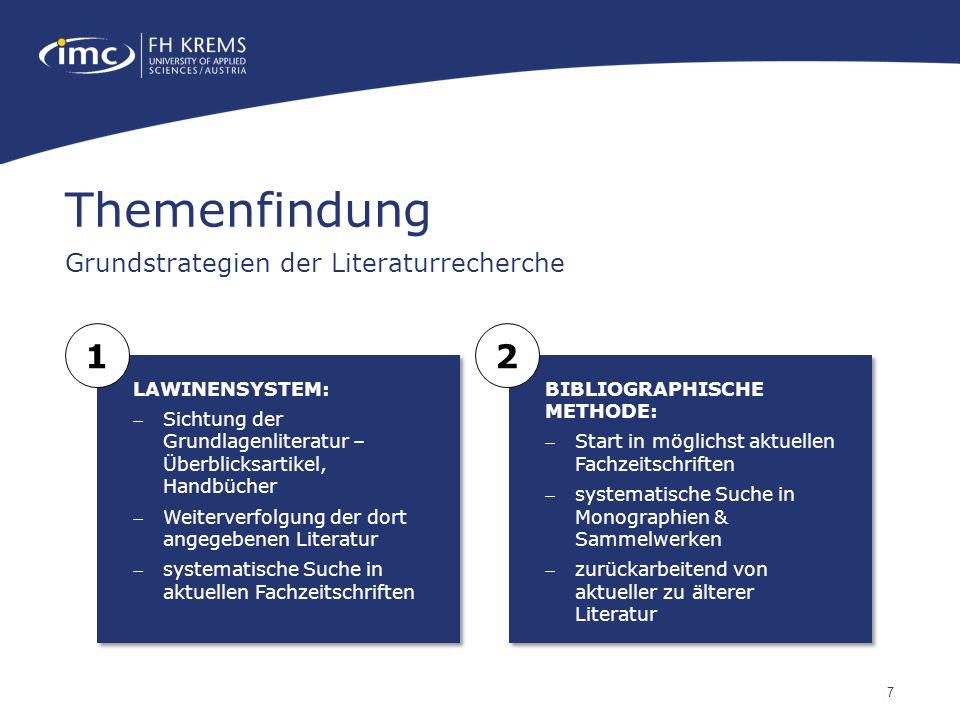 7 Themenfindung Grundstrategien der Literaturrecherche LAWINENSYSTEM: Sichtung der Grundlagenliteratur – Überblicksartikel, Handbücher Weiterverfolg