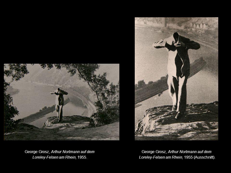 George Grosz, Arthur Nortmann auf dem Loreley-Felsen am Rhein, 1955.