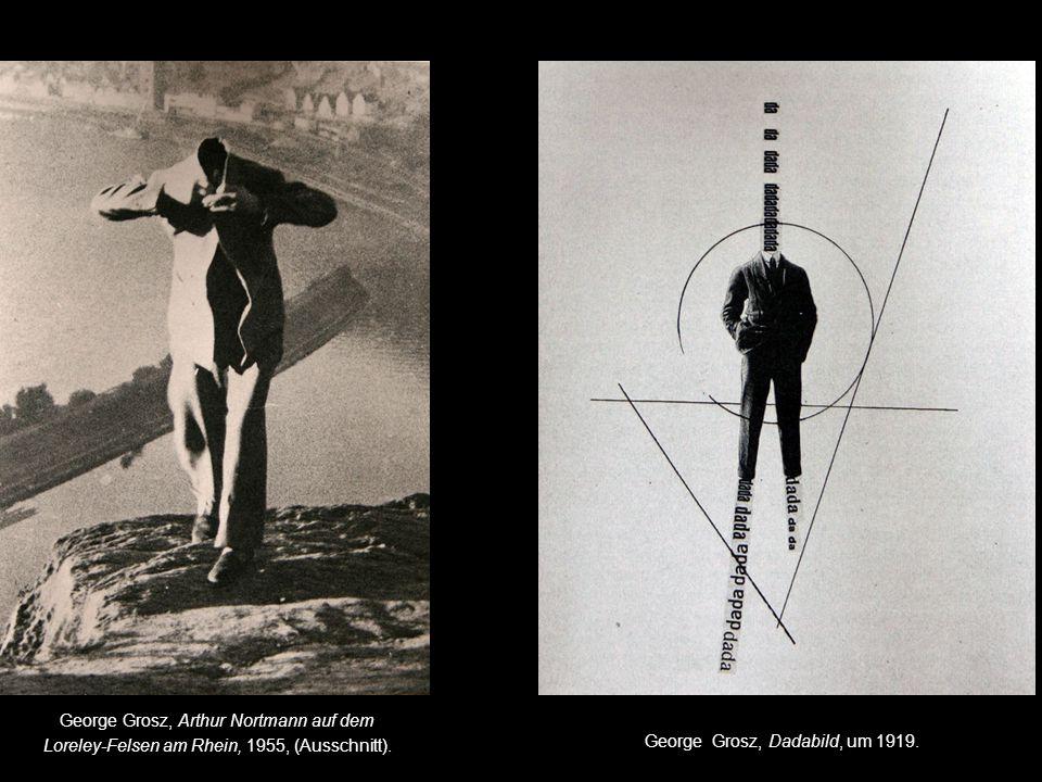 George Grosz, Arthur Nortmann auf dem Loreley-Felsen am Rhein, 1955, (Ausschnitt).