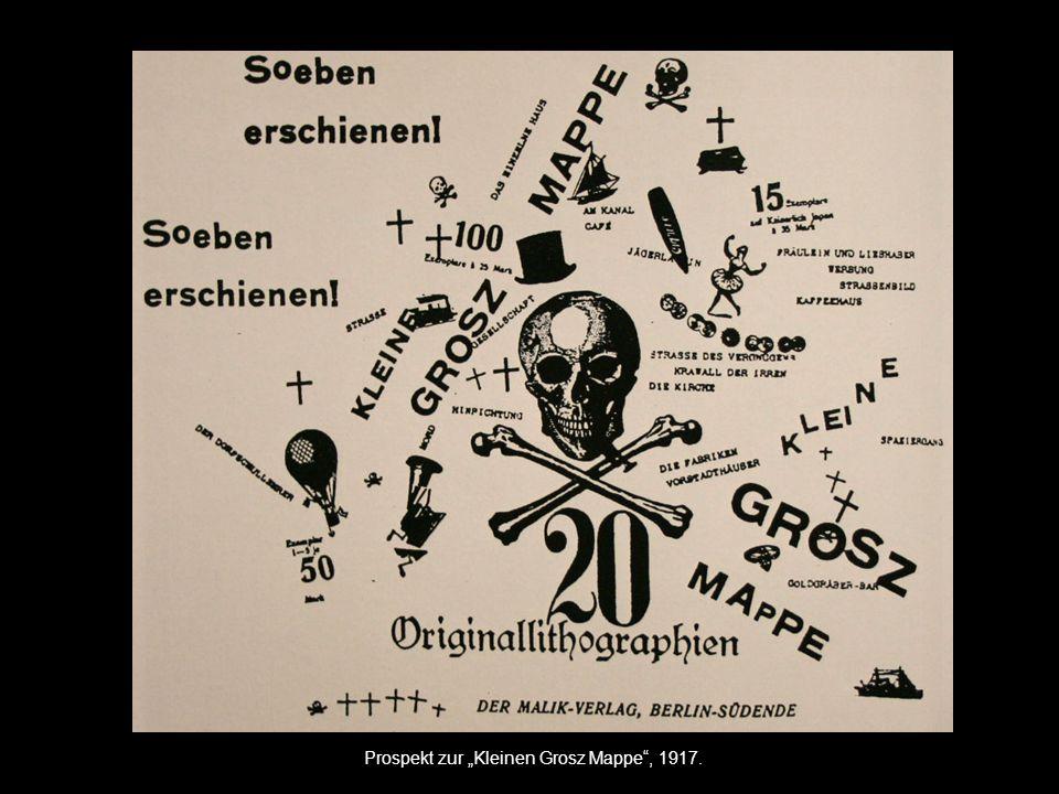 """Prospekt zur """"Kleinen Grosz Mappe , 1917."""