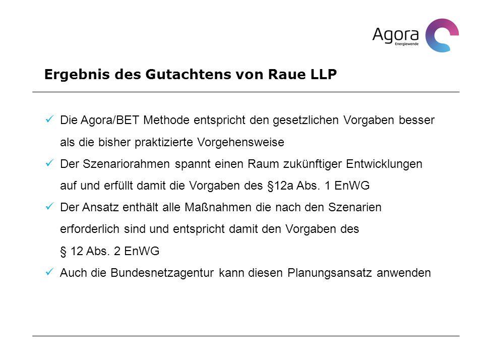 Ergebnis des Gutachtens von Raue LLP Die Agora/BET Methode entspricht den gesetzlichen Vorgaben besser als die bisher praktizierte Vorgehensweise Der