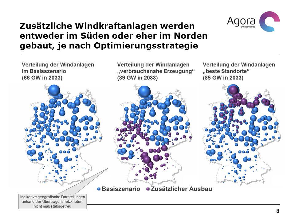Zusätzliche Windkraftanlagen werden entweder im Süden oder eher im Norden gebaut, je nach Optimierungsstrategie 8