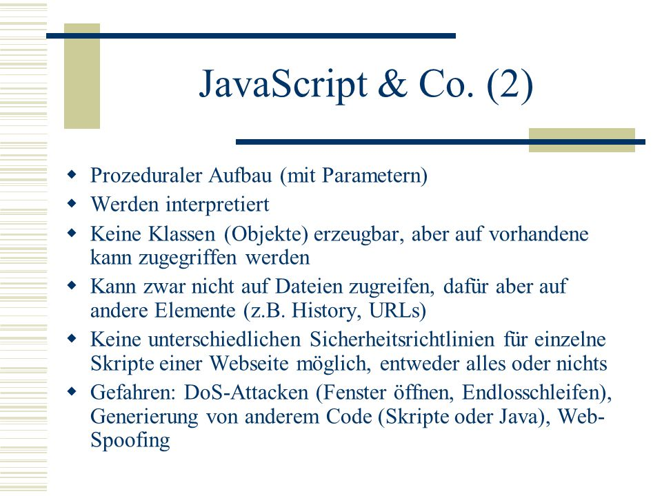 JavaScript & Co.