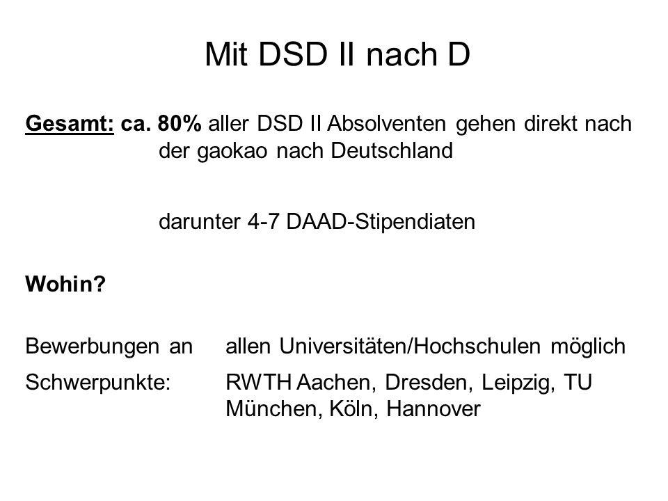 Mit DSD II nach D Gesamt: ca. 80% aller DSD II Absolventen gehen direkt nach der gaokao nach Deutschland darunter 4-7 DAAD-Stipendiaten Wohin? Bewerbu