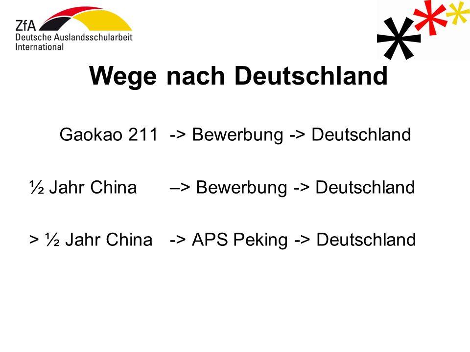 Wege nach Deutschland Gaokao 211-> Bewerbung -> Deutschland ½ Jahr China –> Bewerbung -> Deutschland > ½ Jahr China -> APS Peking -> Deutschland