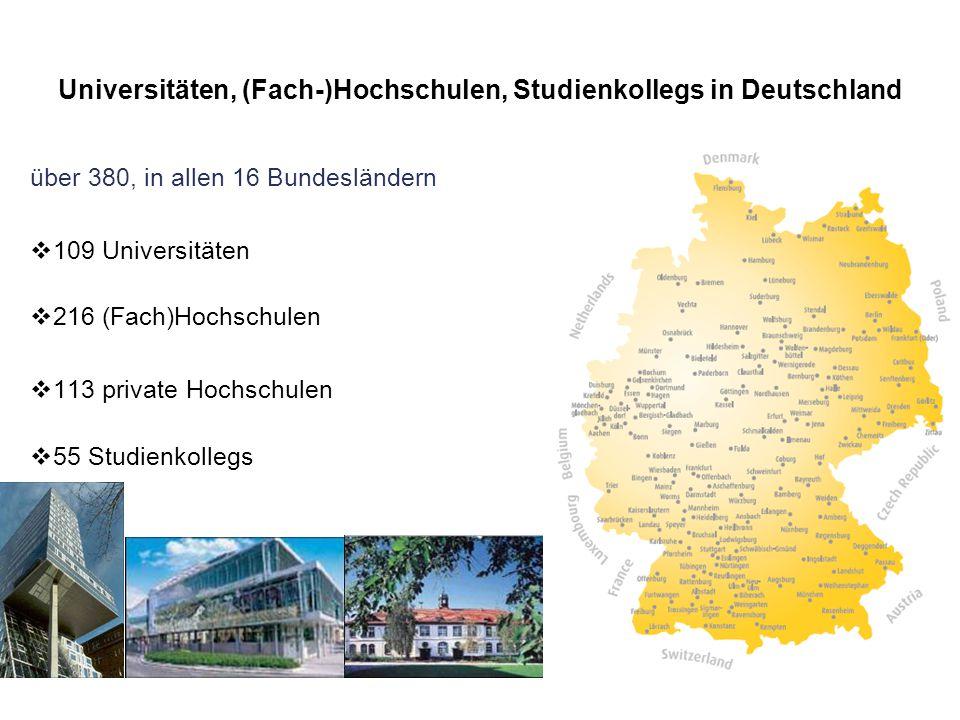 Universitäten, (Fach-)Hochschulen, Studienkollegs in Deutschland über 380, in allen 16 Bundesländern  109 Universitäten  216 (Fach)Hochschulen  113