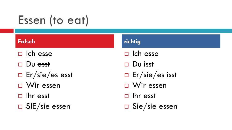 Essen (to eat)  Ich esse  Du esst  Er/sie/es esst  Wir essen  Ihr esst  SIE/sie essen  Ich esse  Du isst  Er/sie/es isst  Wir essen  Ihr esst  Sie/sie essen Falschrichtig