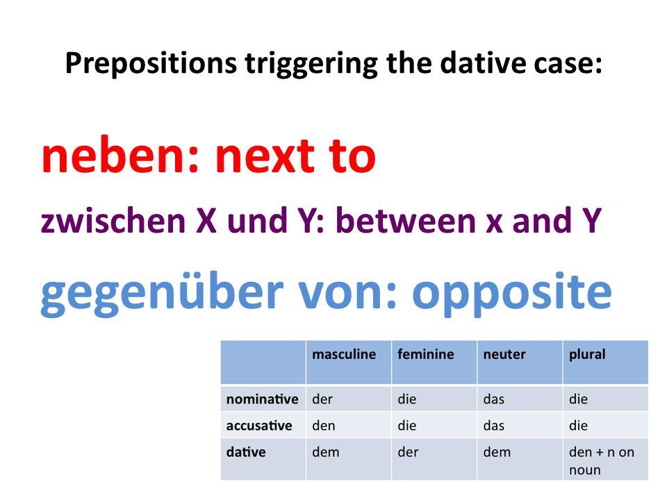 Prepositions triggering the dative case: neben: next to zwischen X und Y: between x and Y gegenüber von: opposite
