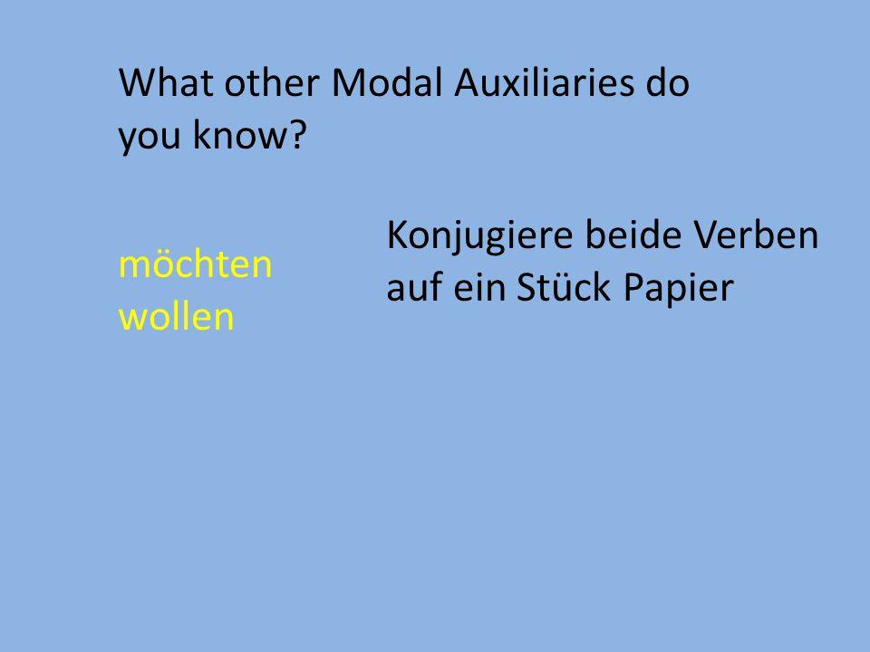 What other Modal Auxiliaries do you know? möchten wollen Konjugiere beide Verben auf ein Stück Papier
