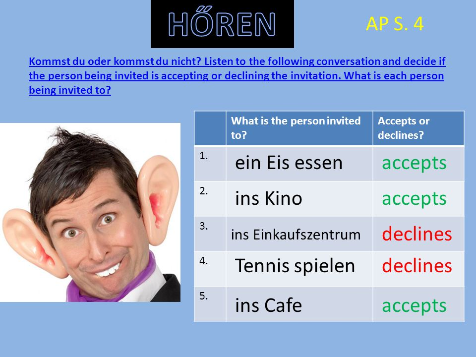 Kommst du oder kommst du nicht? Listen to the following conversation and decide if the person being invited is accepting or declining the invitation.