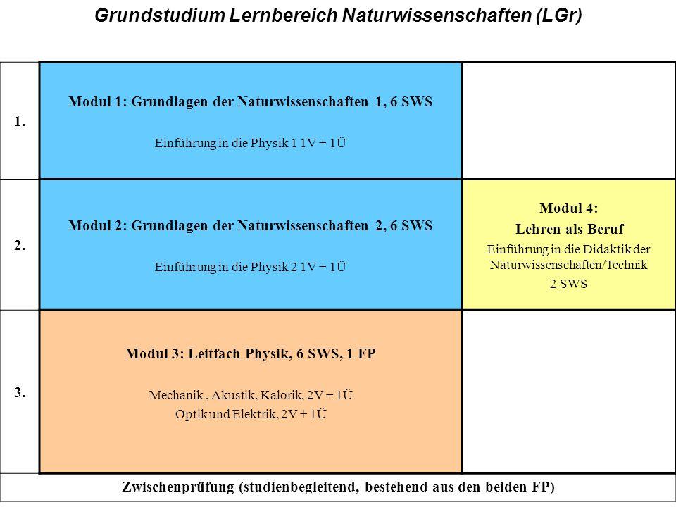 GH, Grundstudium 1. Modul 1: Grundlagen der Naturwissenschaften 1, 6 SWS Einführung in die Physik 1 1V + 1Ü 2. Modul 2: Grundlagen der Naturwissenscha