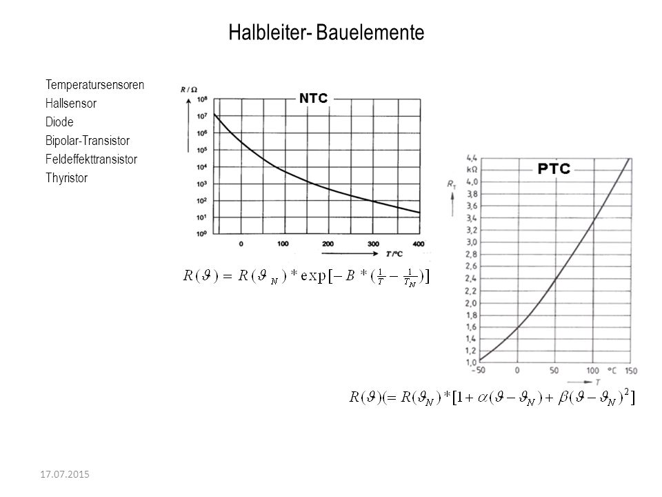 17.07.2015 Temperatursensoren Hallsensor Diode Bipolar-Transistor Feldeffekttransistor Thyristor Halbleiter- Bauelemente