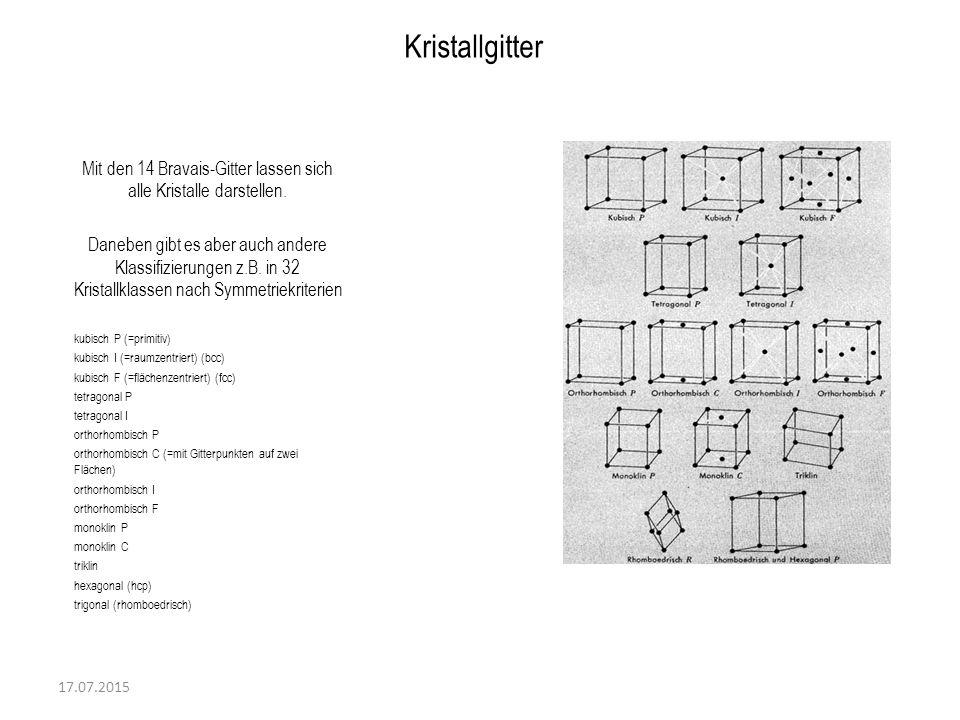 17.07.2015 Kristallgitter Mit den 14 Bravais-Gitter lassen sich alle Kristalle darstellen. Daneben gibt es aber auch andere Klassifizierungen z.B. in