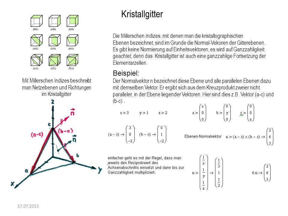 17.07.2015 Kristallgitter Mit Millerschen Indizes beschreibt man Netzebenen und Richtungen im Kristallgitter Die Millerschen Indizes, mit denen man di