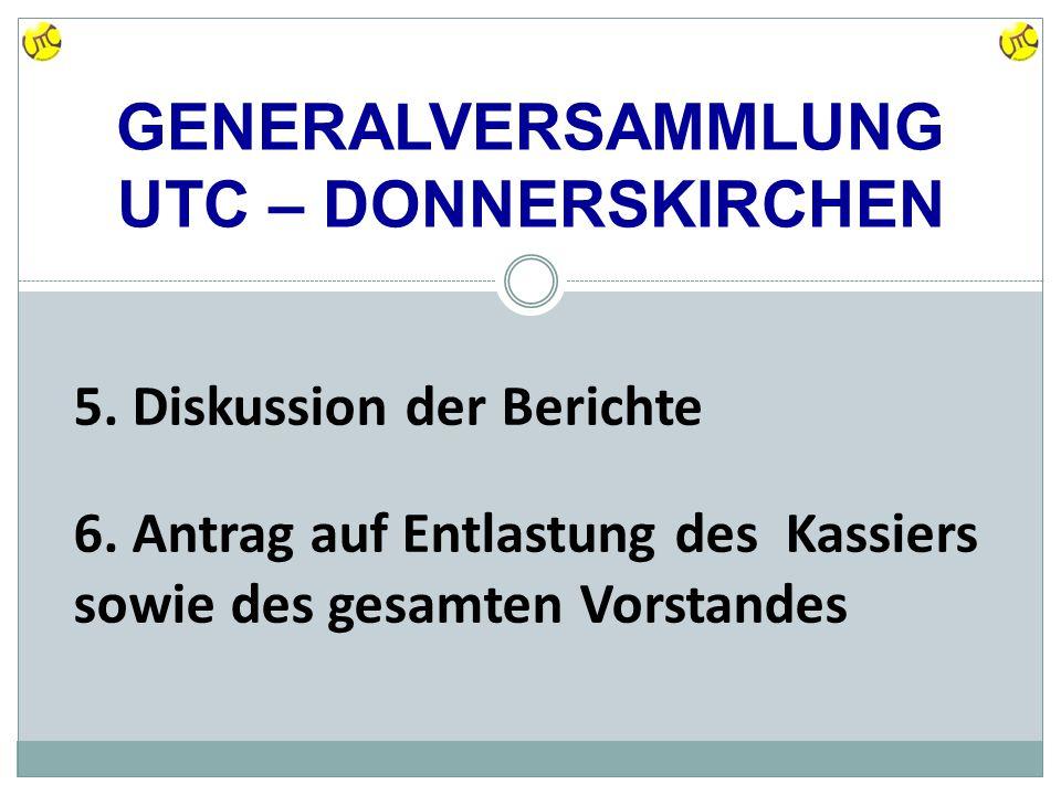 GENERALVERSAMMLUNG UTC – DONNERSKIRCHEN 5. Diskussion der Berichte 6.