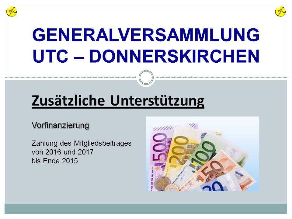 GENERALVERSAMMLUNG UTC – DONNERSKIRCHEN Zusätzliche Unterstützung Vorfinanzierung Zahlung des Mitgliedsbeitrages von 2016 und 2017 bis Ende 2015