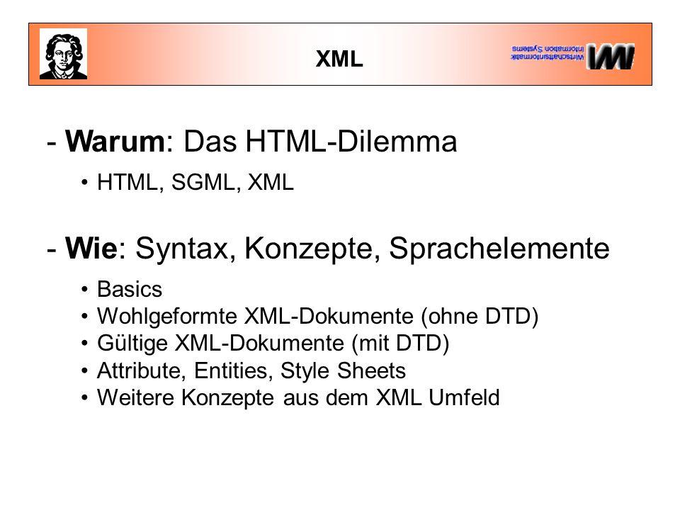 XML - Warum: Das HTML-Dilemma HTML, SGML, XML - Wie: Syntax, Konzepte, Sprachelemente Basics Wohlgeformte XML-Dokumente (ohne DTD) Gültige XML-Dokumente (mit DTD) Attribute, Entities, Style Sheets Weitere Konzepte aus dem XML Umfeld