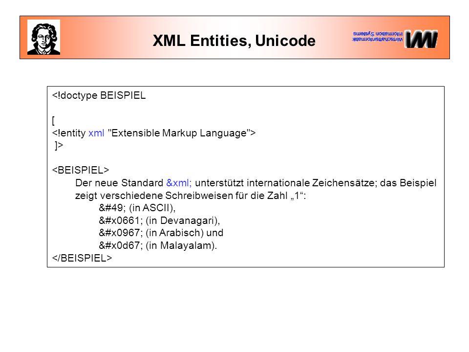 """XML Entities, Unicode <!doctype BEISPIEL [ ]> Der neue Standard &xml; unterstützt internationale Zeichensätze; das Beispiel zeigt verschiedene Schreibweisen für die Zahl """"1 : 1 (in ASCII), ١ (in Devanagari), १ (in Arabisch) und ൧ (in Malayalam)."""