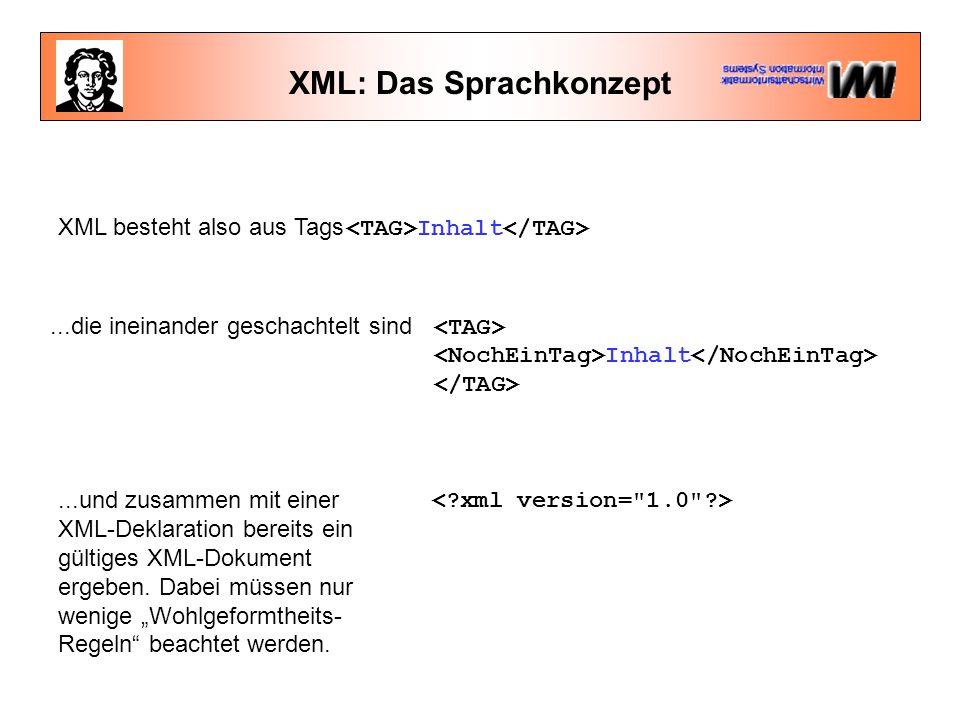 XML: Das Sprachkonzept XML besteht also aus Tags Inhalt...die ineinander geschachtelt sind Inhalt...und zusammen mit einer XML-Deklaration bereits ein gültiges XML-Dokument ergeben.
