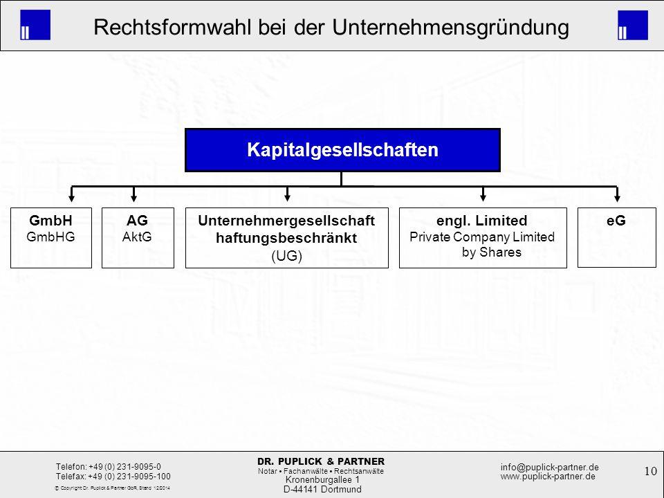 10 Rechtsformwahl bei der Unternehmensgründung Kronenburgallee 1 D-44141 Dortmund Telefon: +49 (0) 231-9095-0 Telefax: +49 (0) 231-9095-100 info@pupli