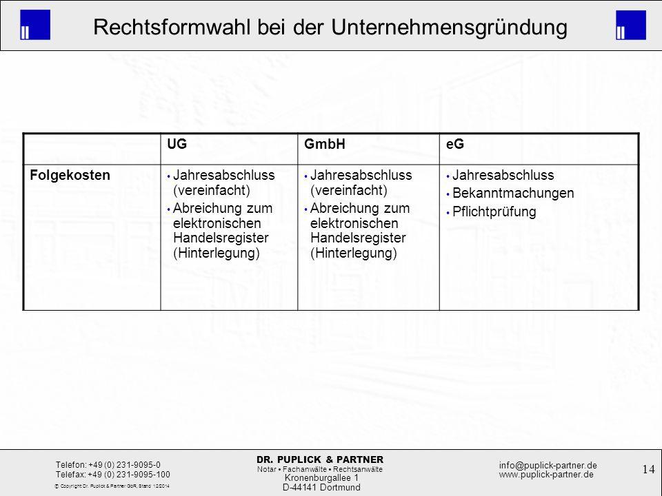 14 Rechtsformwahl bei der Unternehmensgründung Kronenburgallee 1 D-44141 Dortmund Telefon: +49 (0) 231-9095-0 Telefax: +49 (0) 231-9095-100 info@pupli