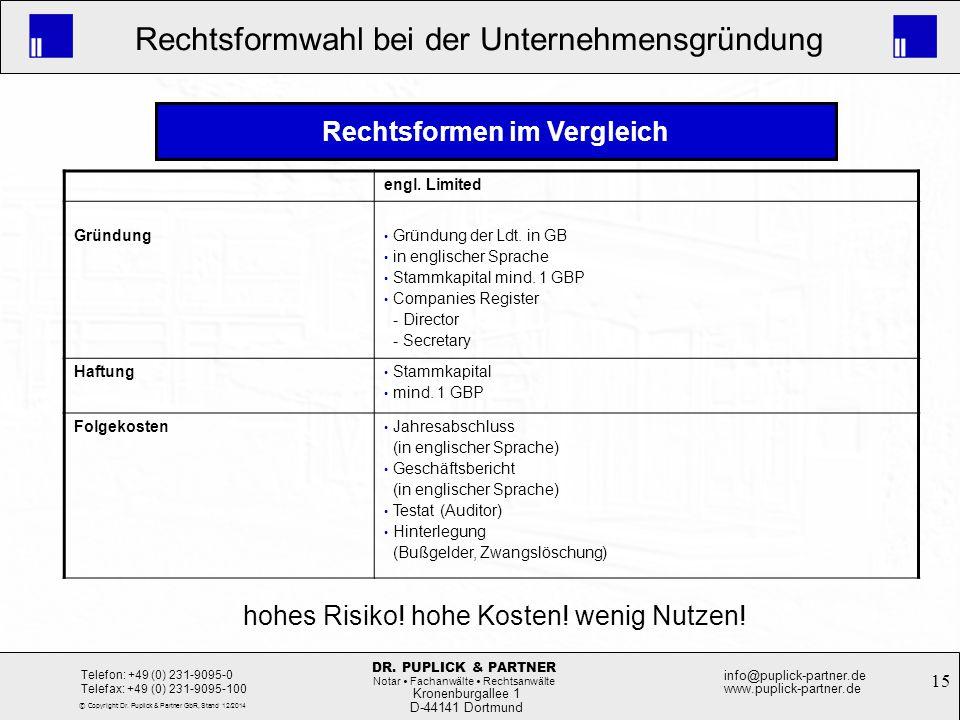 15 Rechtsformwahl bei der Unternehmensgründung Kronenburgallee 1 D-44141 Dortmund Telefon: +49 (0) 231-9095-0 Telefax: +49 (0) 231-9095-100 info@pupli