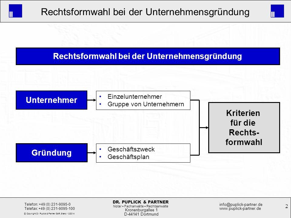 2 Rechtsformwahl bei der Unternehmensgründung Kronenburgallee 1 D-44141 Dortmund Telefon: +49 (0) 231-9095-0 Telefax: +49 (0) 231-9095-100 info@puplic