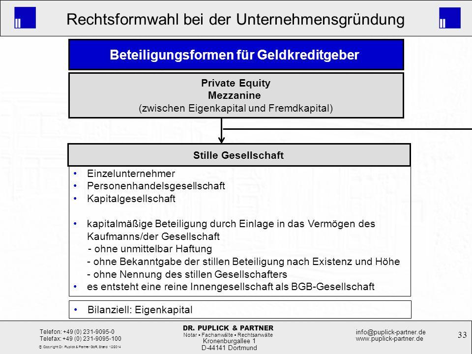 33 Rechtsformwahl bei der Unternehmensgründung Kronenburgallee 1 D-44141 Dortmund Telefon: +49 (0) 231-9095-0 Telefax: +49 (0) 231-9095-100 info@pupli