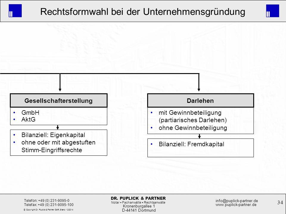 34 Rechtsformwahl bei der Unternehmensgründung Kronenburgallee 1 D-44141 Dortmund Telefon: +49 (0) 231-9095-0 Telefax: +49 (0) 231-9095-100 info@pupli