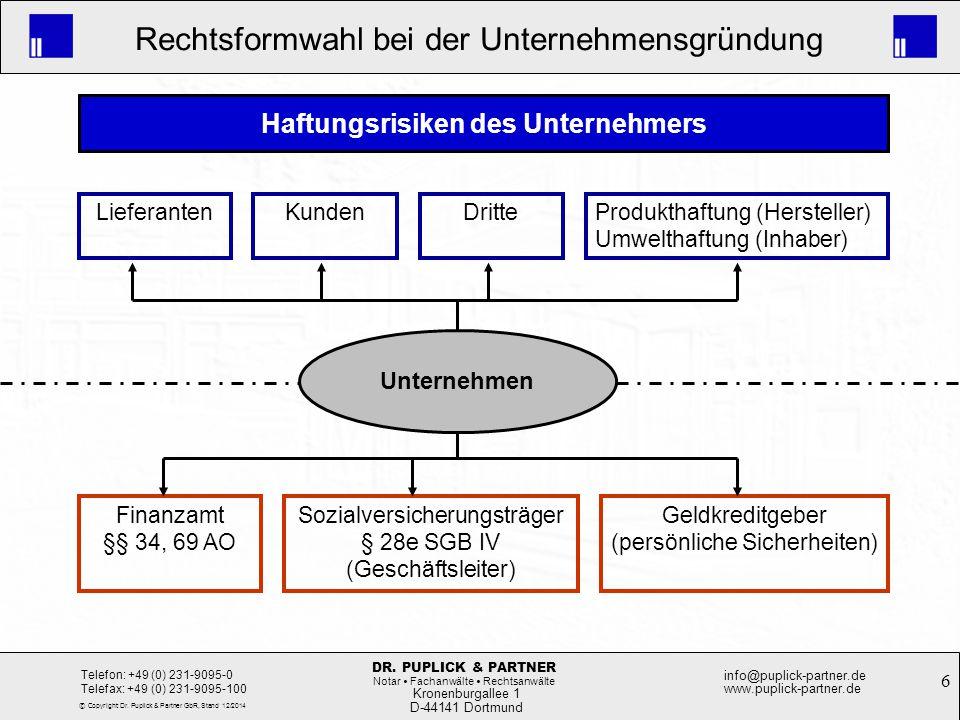 6 Rechtsformwahl bei der Unternehmensgründung Kronenburgallee 1 D-44141 Dortmund Telefon: +49 (0) 231-9095-0 Telefax: +49 (0) 231-9095-100 info@puplic