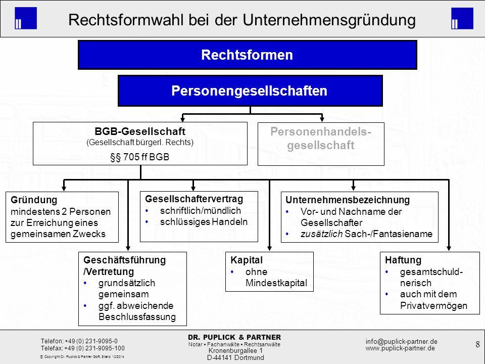 8 Rechtsformwahl bei der Unternehmensgründung Kronenburgallee 1 D-44141 Dortmund Telefon: +49 (0) 231-9095-0 Telefax: +49 (0) 231-9095-100 info@puplic