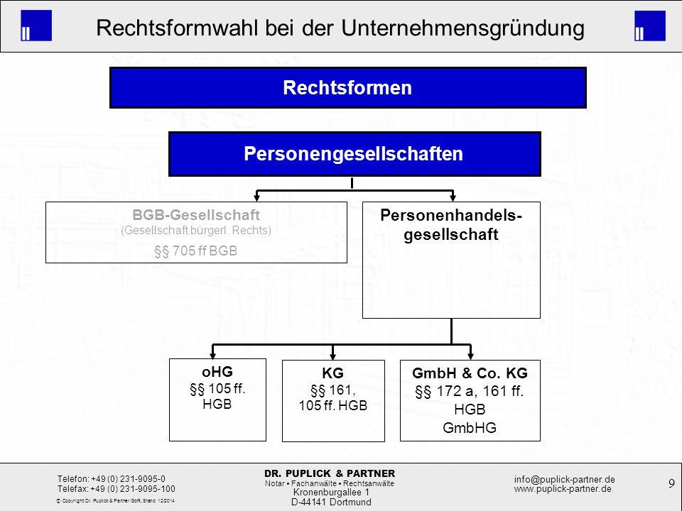 9 Rechtsformwahl bei der Unternehmensgründung Kronenburgallee 1 D-44141 Dortmund Telefon: +49 (0) 231-9095-0 Telefax: +49 (0) 231-9095-100 info@puplic