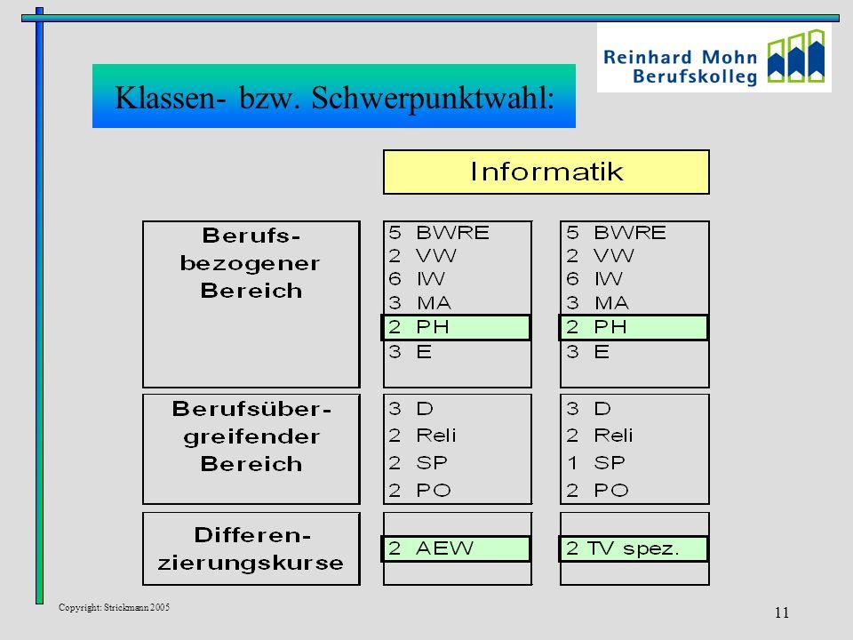 Copyright: Strickmann 2005 11 Klassen- bzw. Schwerpunktwahl: