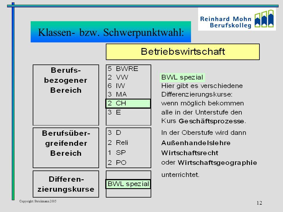 Copyright: Strickmann 2005 12 Klassen- bzw. Schwerpunktwahl:
