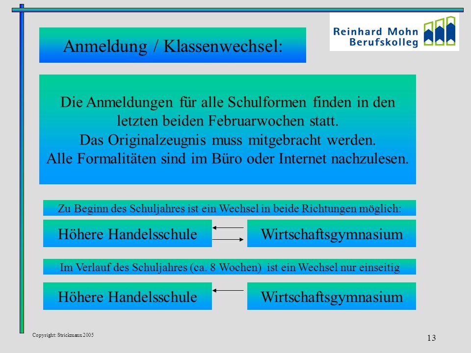 Copyright: Strickmann 2005 13 Die Anmeldungen für alle Schulformen finden in den letzten beiden Februarwochen statt. Das Originalzeugnis muss mitgebra