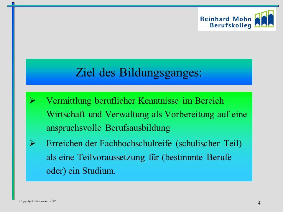 Copyright: Strickmann 2005 4 Ziel des Bildungsganges:  Vermittlung beruflicher Kenntnisse im Bereich Wirtschaft und Verwaltung als Vorbereitung auf e
