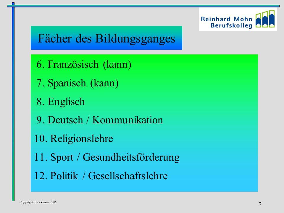 Copyright: Strickmann 2005 7 Fächer des Bildungsganges 6. Französisch (kann) 7. Spanisch (kann) 8. Englisch 9. Deutsch / Kommunikation 10. Religionsle
