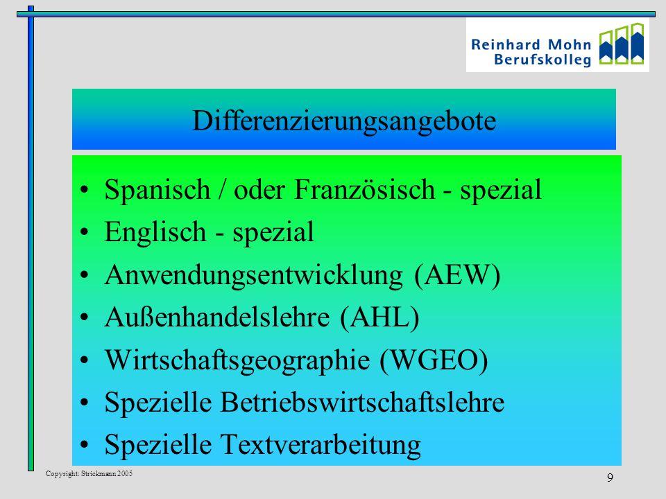 Copyright: Strickmann 2005 9 Differenzierungsangebote Spanisch / oder Französisch - spezial Englisch - spezial Anwendungsentwicklung (AEW) Außenhandelslehre (AHL) Wirtschaftsgeographie (WGEO) Spezielle Betriebswirtschaftslehre Spezielle Textverarbeitung