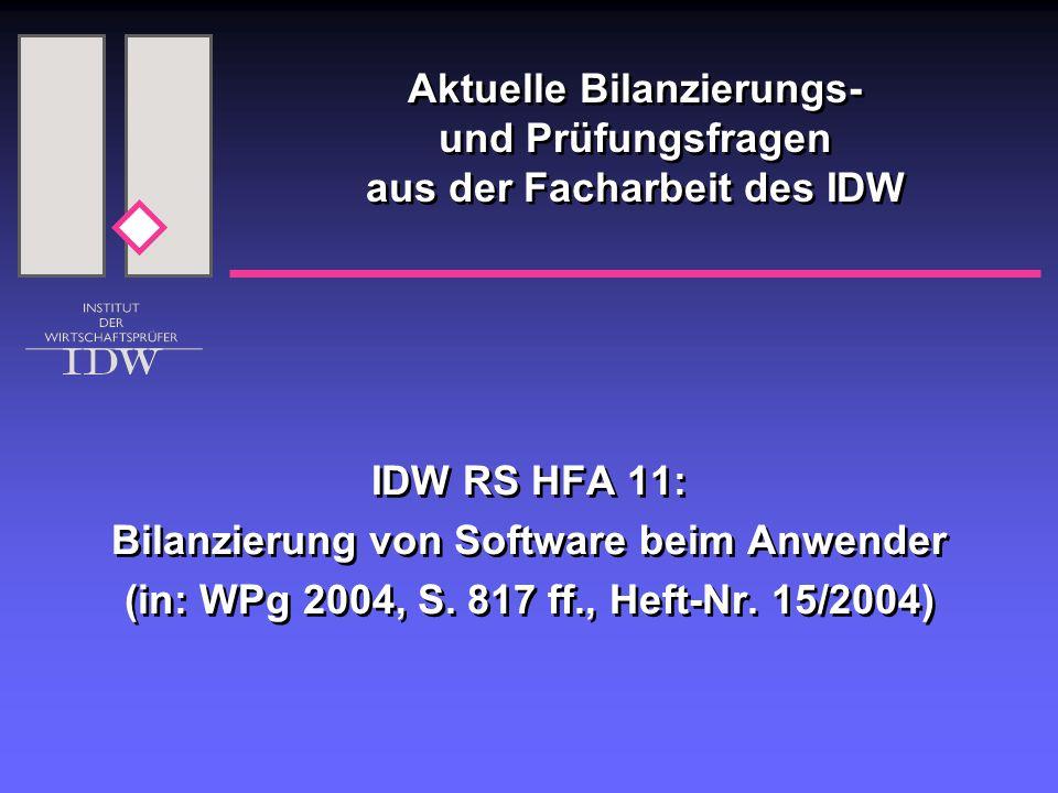 IDW RS HFA 11: Bilanzierung von Software beim Anwender (in: WPg 2004, S. 817 ff., Heft-Nr. 15/2004) IDW RS HFA 11: Bilanzierung von Software beim Anwe