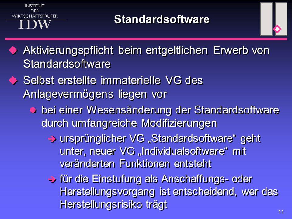 11 Standardsoftware  Aktivierungspflicht beim entgeltlichen Erwerb von Standardsoftware  Selbst erstellte immaterielle VG des Anlagevermögens liegen