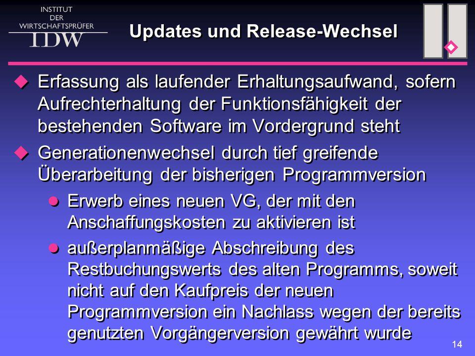 14 Updates und Release-Wechsel  Erfassung als laufender Erhaltungsaufwand, sofern Aufrechterhaltung der Funktionsfähigkeit der bestehenden Software i