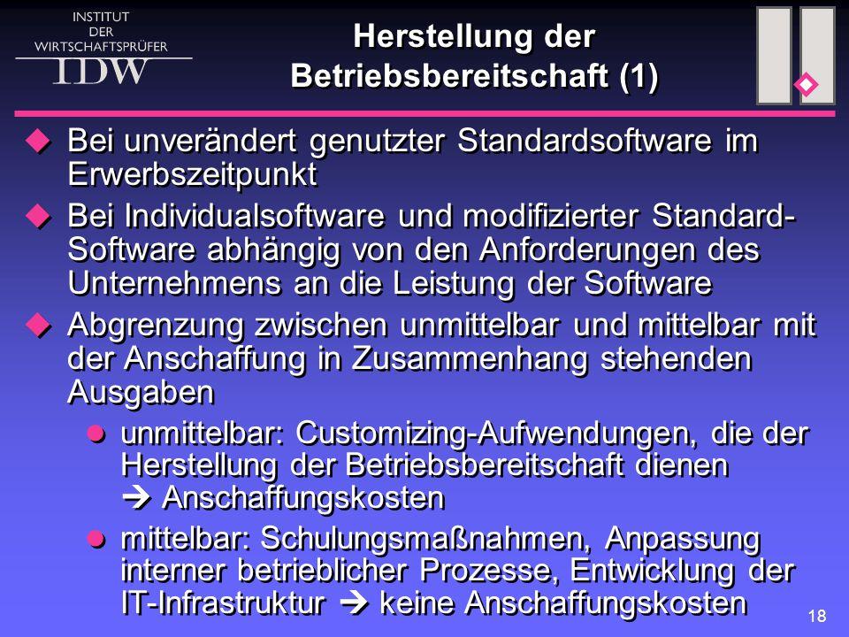 18 Herstellung der Betriebsbereitschaft (1)  Bei unverändert genutzter Standardsoftware im Erwerbszeitpunkt  Bei Individualsoftware und modifizierte