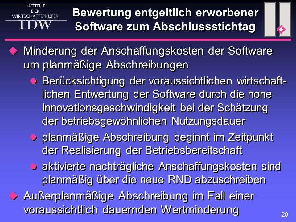 20 Bewertung entgeltlich erworbener Software zum Abschlussstichtag  Minderung der Anschaffungskosten der Software um planmäßige Abschreibungen Berück
