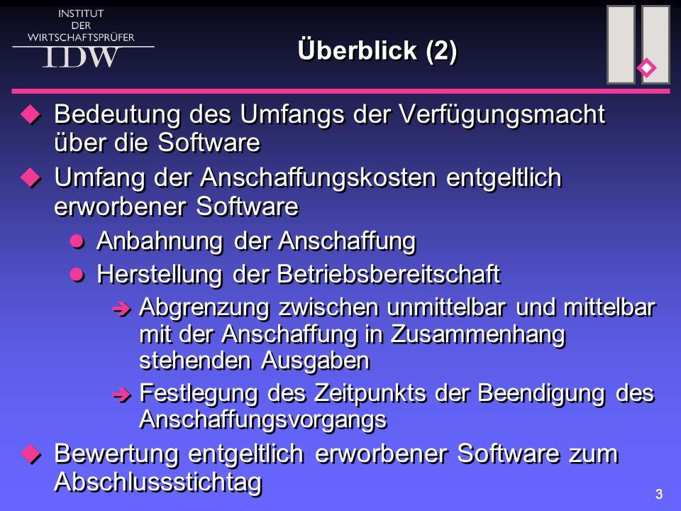 3 Überblick (2)  Bedeutung des Umfangs der Verfügungsmacht über die Software  Umfang der Anschaffungskosten entgeltlich erworbener Software Anbahnun