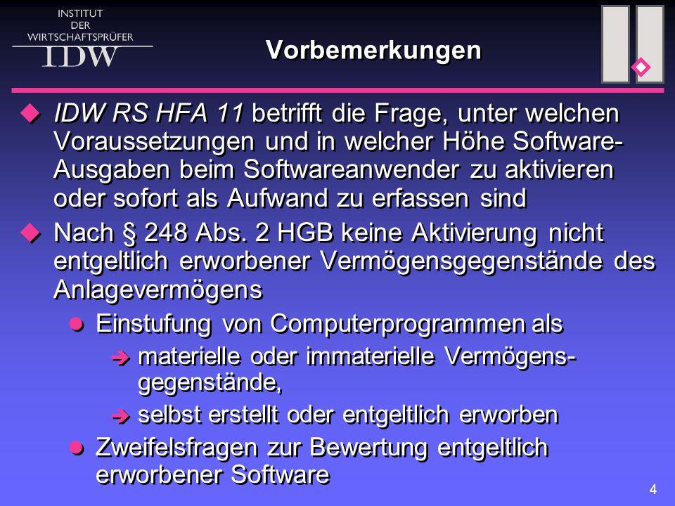 4 Vorbemerkungen  IDW RS HFA 11 betrifft die Frage, unter welchen Voraussetzungen und in welcher Höhe Software- Ausgaben beim Softwareanwender zu akt