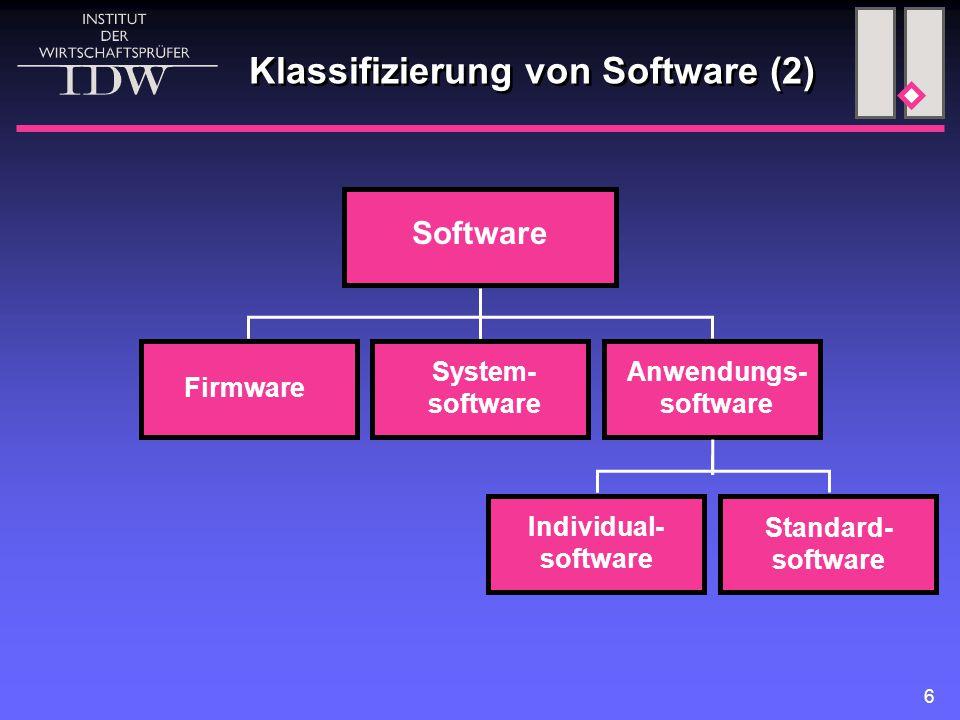 6 Klassifizierung von Software (2) Software System- software Anwendungs- software Firmware Individual- software Standard- software