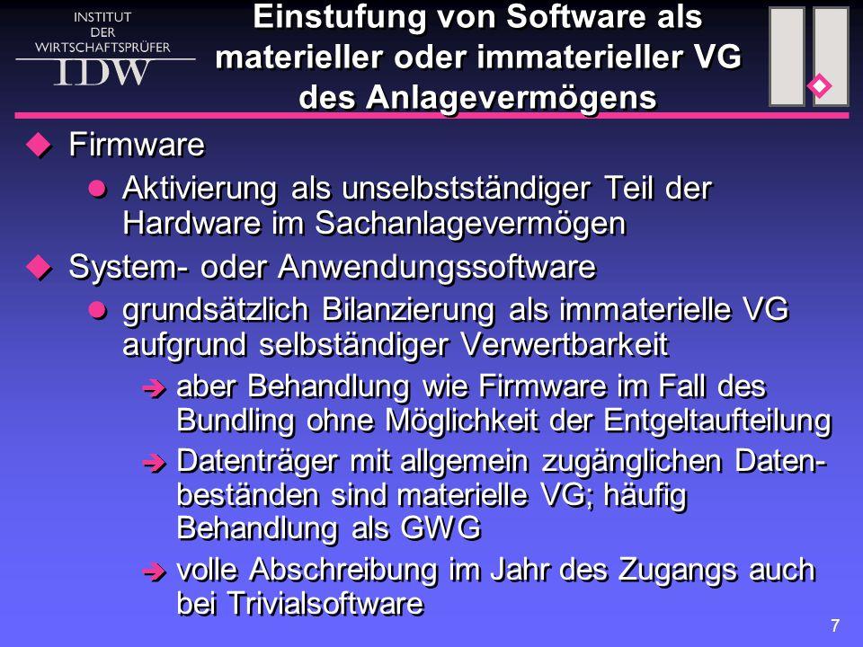 7 Einstufung von Software als materieller oder immaterieller VG des Anlagevermögens  Firmware Aktivierung als unselbstständiger Teil der Hardware im