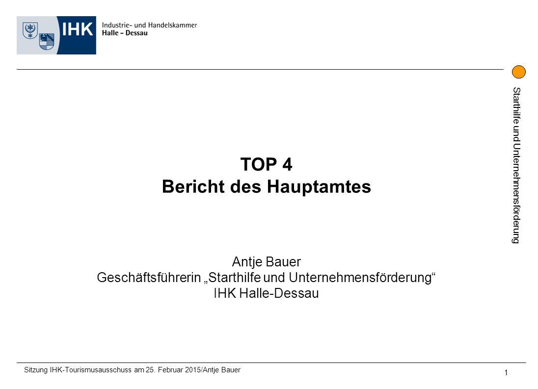 """Starthilfe und Unternehmensförderung TOP 4 Bericht des Hauptamtes Antje Bauer Geschäftsführerin """"Starthilfe und Unternehmensförderung IHK Halle-Dessau Sitzung IHK-Tourismusausschuss am 25."""