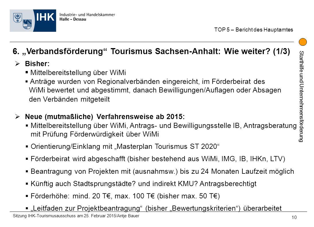 """Starthilfe und Unternehmensförderung 6. """"Verbandsförderung"""" Tourismus Sachsen-Anhalt: Wie weiter? (1/3) TOP 5 – Bericht des Hauptamtes Sitzung IHK-Tou"""