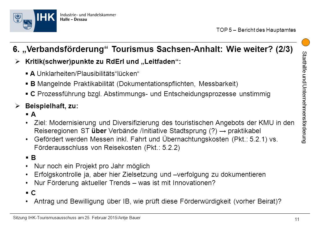 """Starthilfe und Unternehmensförderung 6. """"Verbandsförderung"""" Tourismus Sachsen-Anhalt: Wie weiter? (2/3) TOP 5 – Bericht des Hauptamtes Sitzung IHK-Tou"""
